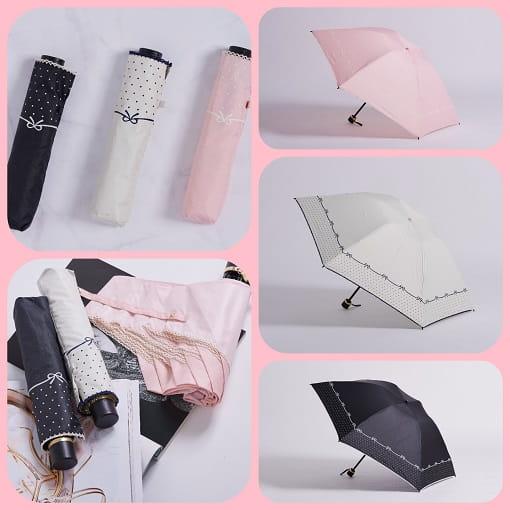 雨洋工坊日系可愛風點點蝴蝶結蝴蝶骨隔熱遮陽三折傘