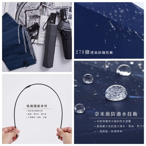 雨洋工坊奈米潑水機能布自動傘